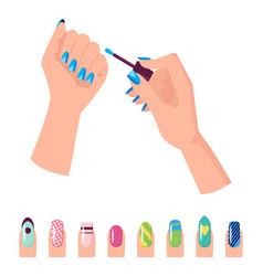 hands and nail polish banner vector image