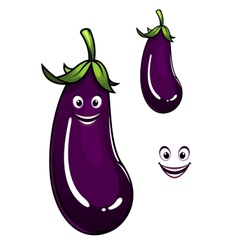Happy healthy purple eggplant or aubergine vector image