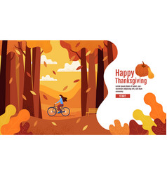 happy thanksgiving autumn banner design vector image