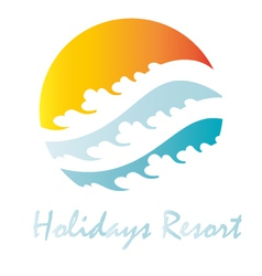 Holidays vacation sun beach logo icon wave vector