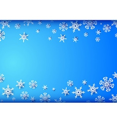 Horizontal blue frame with snowflakes vector image
