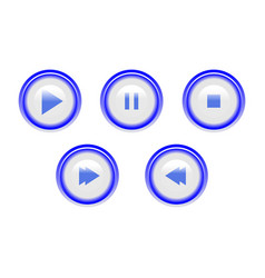 icon play pause and stop buttons vector image