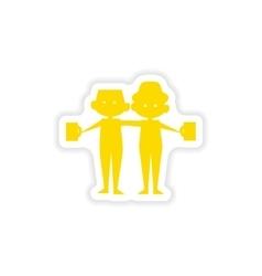 Icon sticker realistic design on paper friends vector