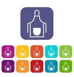Kitchen apron icons set vector