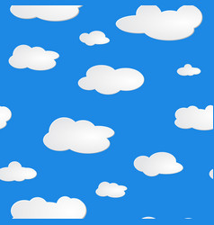 light blue sky white clouds pattern seamless vector image