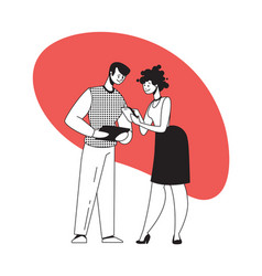 Man and woman discuss work with gadgets people vector