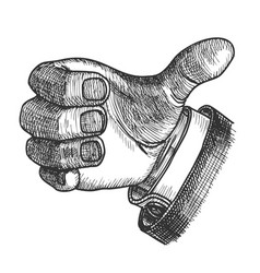 Man hand gesture thumb finger up doodle vector