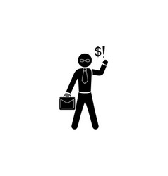 man with briefcase and formulas businessman icon vector image