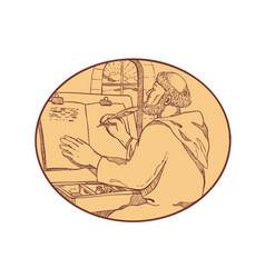 Medieval monk writing illuminated manuscript vector