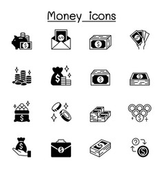 Money icons set graphic design vector