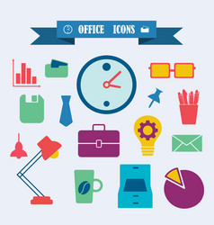 Multicolored icons with tape on topic office vector
