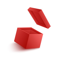 open empty red paper box vector image