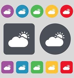 Partly Cloudy icon sign A set of 12 colored vector image