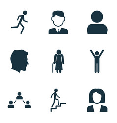 person icons set collection of old woman male vector image