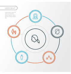 person outline icons set collection of social vector image