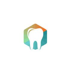Polygon tooth logo icon colorful hexagon sign vector