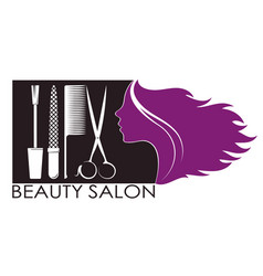 Profile girls for beauty and nail salon vector