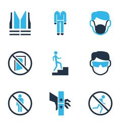 Protection icons colored set with dust mask keep vector