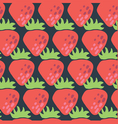 red strawberries seamless pattern retro vector image
