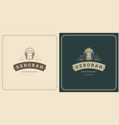 restaurant logo template woman vector image