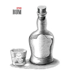 rum bottle with glass vintage engraving style vector image