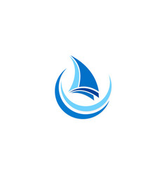 sail boat travel ocean logo vector image