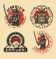 samurai warrior prints vector image