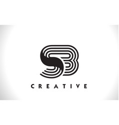 Sb logo letter with black lines design line letter vector