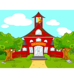 School landscape vector