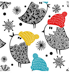 seamless pattern with cute doodle birds in vector image