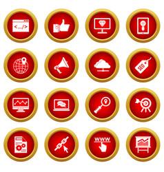 Seo icon red circle set vector
