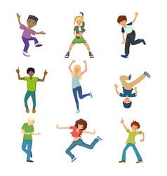 set dancing people characters in modern dance vector image