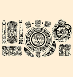 Set intricate black mayan tattoo designs vector