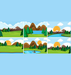 Set nature scenes vector