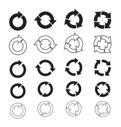 set of black circle arrows vector image