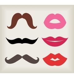 Set of lips and mustaches vector image