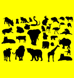 silhouettes animals image vector image