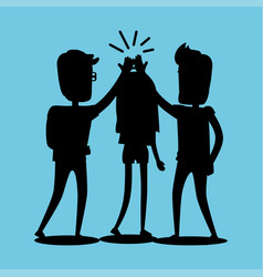 silhouettes of guys and girl clap hands together vector image