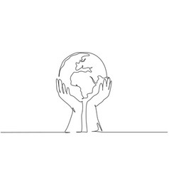 single one line drawing man holding global vector image