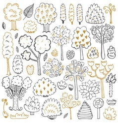 Sketch pattern with trees and leaves vector