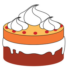 small cake on white background vector image