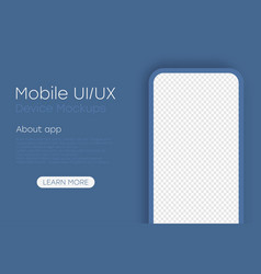 smartphone mockup with blank transparent screen vector image