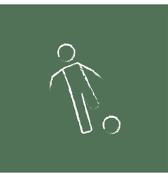 Soccer player with ball icon drawn in chalk vector image
