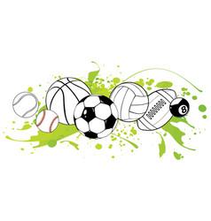 sport balls on color background vector image