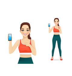 Sport woman showing blank screen phone vector