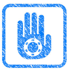 stop gambling palm framed grunge icon vector image