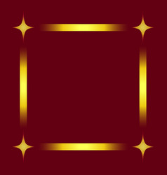 Stylish square frame with 4 stars isolated on red vector