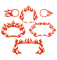 Stylized fire flame frames vector