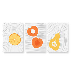 summer fruits abstract minimal outline wall art vector image