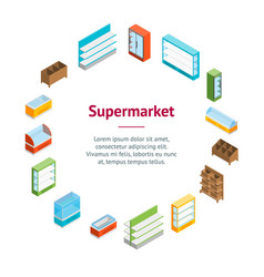 supermarket elements banner card circle isometric vector image